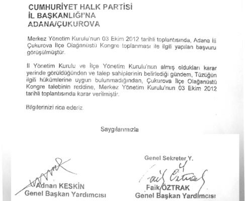 CHP, Çukurova için kararını verdi