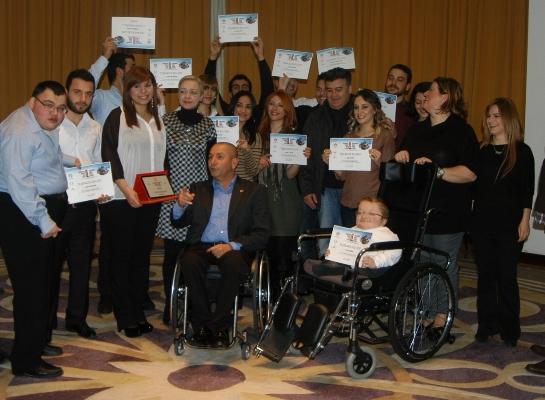 Engelli gönüllülerine Teşekkür belgesi