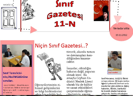 Öğrencilerden Sınıf Gazetesi