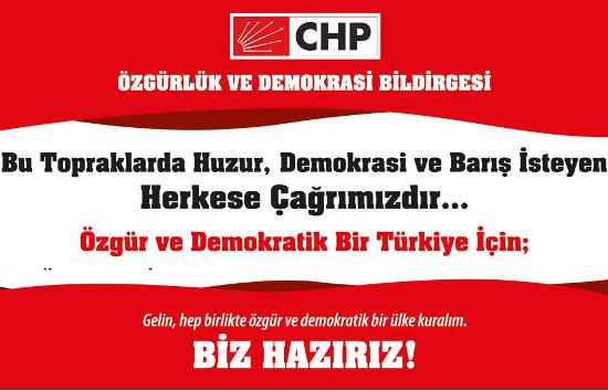 CHP'den Özgürlük ve Demokrasi Bildirgesi