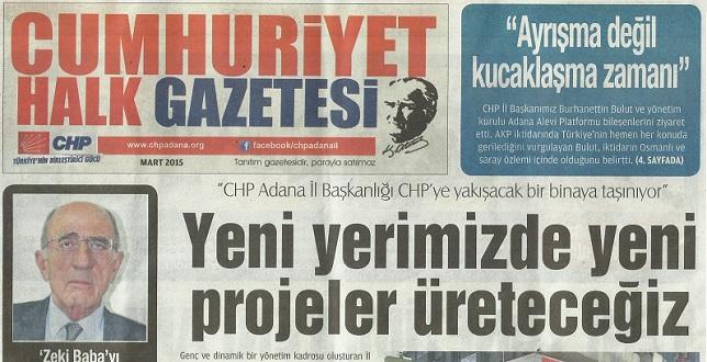 CHP Adana İl'den Cumhuriyet Halk Gazetesi