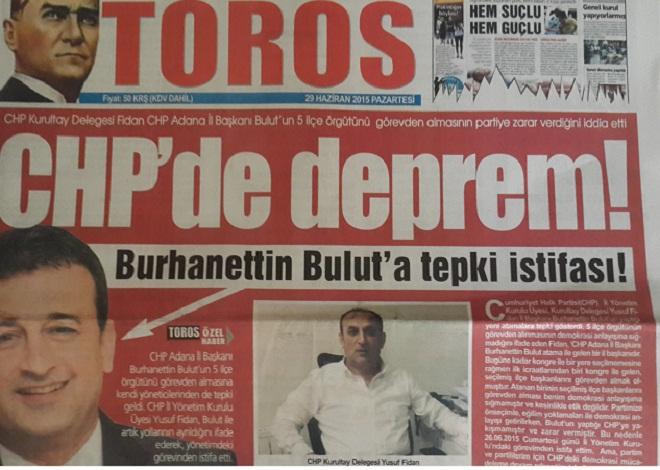 Adana CHP Yönetiminde Tepki İstifası