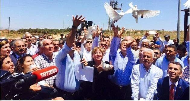 Suriye'ye barış güvercini uçurdular